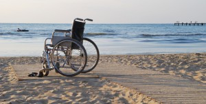 A beach that is wheelchair accessible.