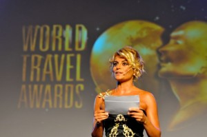 Turkish TV host Ece Vahapoglu announcing the winners of the 20th World Travel Awards.