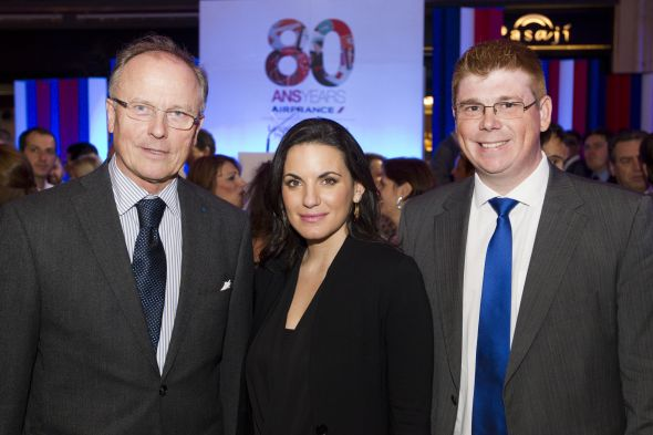 Ambassador of France to Greece Jean Loup Kuhn-Delforge; Greek Tourism Minister Olga Kefalogianni; and Air France-KLM Greece General Manager Yann Gilbert at Air France's 80th birthday bash in Athens. (Photo source: Air France Greece)