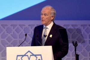 Emirates Airline president Tim Clark speaking during a presentation to delegates of Bureau International des Expositions (BIE).