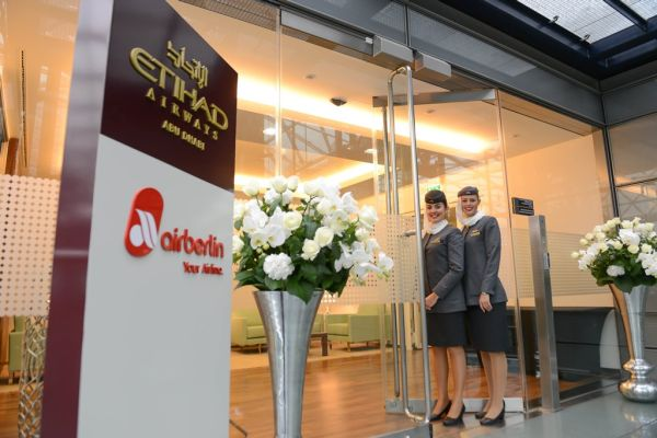Entrance to Etihad  Airways' new office in Berlin, Germany.