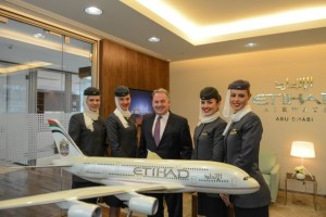 Etihad Airways President and Chief Executive Officer, James Hogan, with the airline's crew in the new Berlin office.