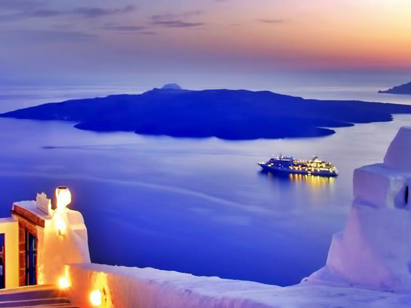 Ferry in Santorini, Greece