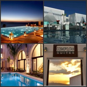 Some of the SLH members in Greece - Clockwise from top left: Bill & Coo, Mykonos; Aressana Spa Hotel & Suites, Santorini; Rimondi Estate, Crete; Cosmopolitan Suites, Santorini. Photo collage: hotelBrain