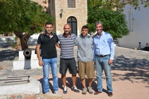 The president of the Monemvasia Tourism Promotion Committee, Babis Lyras with members of the The Italian TV crew and Monemvasia's vice mayor Yiorgos Vounelakis.
