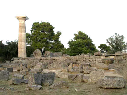 Archaeological site of Olympia, the Temple of Zeus.