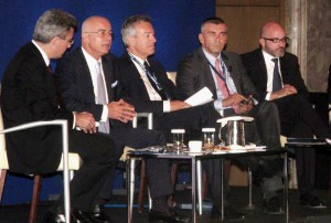 Nikos Hatzinikolaou, publisher, journalist; Anastasios Liaskos, secretary general of Greek Tourism ministry; Andreas Andreadis, president of SETE; and Constantinos Vousvounis, Eurobank general manager, member of the executive board and management committe.