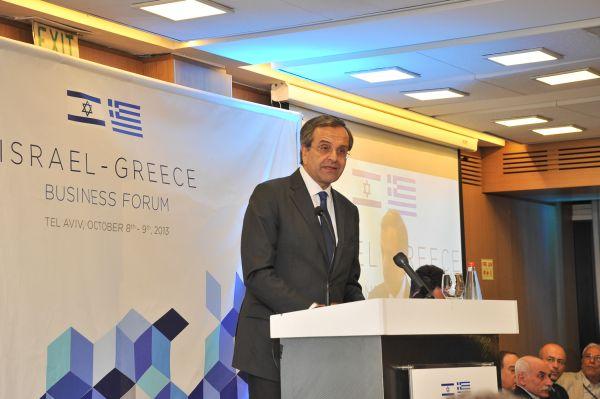 Greek Prime Minister Antonis Samaras speaking at Israel-Greece Business Forum in Tel Aviv. Photo ©: Iris Avigour, a.s.i.p-channel 3.