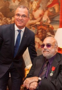 General manager of Sofitel Athens Airport, Cyril Manguso, with Greek singer and composer Demis Roussos.