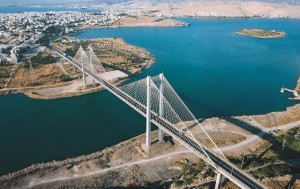 The Halkida bridge connects Evia with the mainland of Greece.