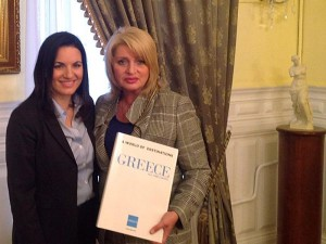 Greek Tourism Minister Olga Kefalogianni and Russian Deputy Minister of Culture, responsible for tourism issues, Alla Manilova.