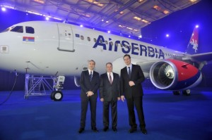 Dane Kondic, CEO Air Serbia; James Hogan, President and Chief Executive, Etihad Airways; and Aleksandar Vucic, Deputy Prime Minister of the Serbian Government.