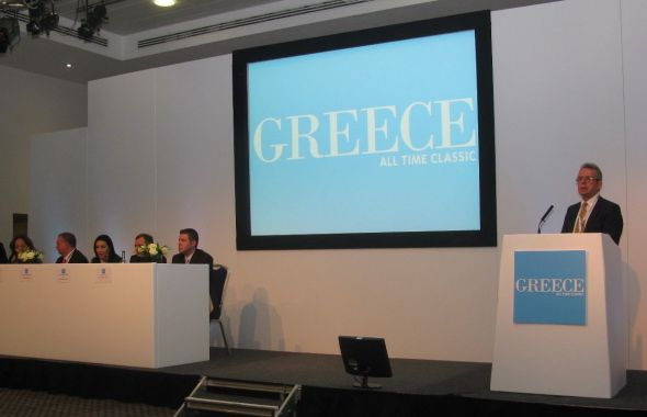 Greek National Tourism Organization press conference on the first day of the World Travel Market 2013.
