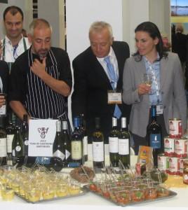WTM 2013: Greek Tourism Minister Olga Kefalogianni sampled some of Santorini's dishes.