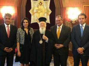 Greek Tourism Minister Olga Kefalogianni with the Ecumenical Patriarch Bartholomew in Turkey.