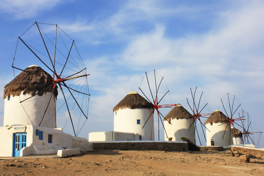 The famous windmills of Mykonos.