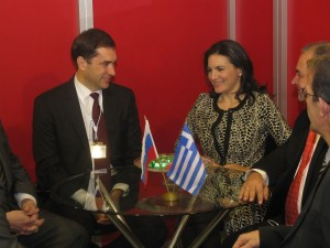 The deputy head of the Federal Agency for Tourism of the Russian Federation, Evgeny Pisarevsky, with Greek Tourism Minister Olga Kefalogianni at Philoxenia.