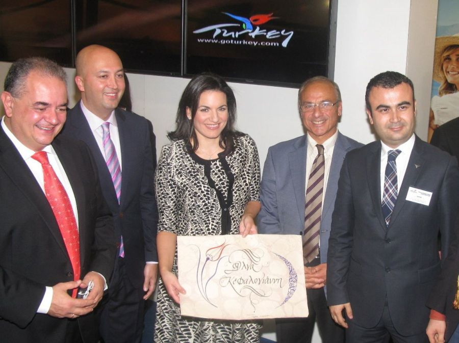 Greek Tourism Minister Olga Kefalogianni at Turkey's stand.