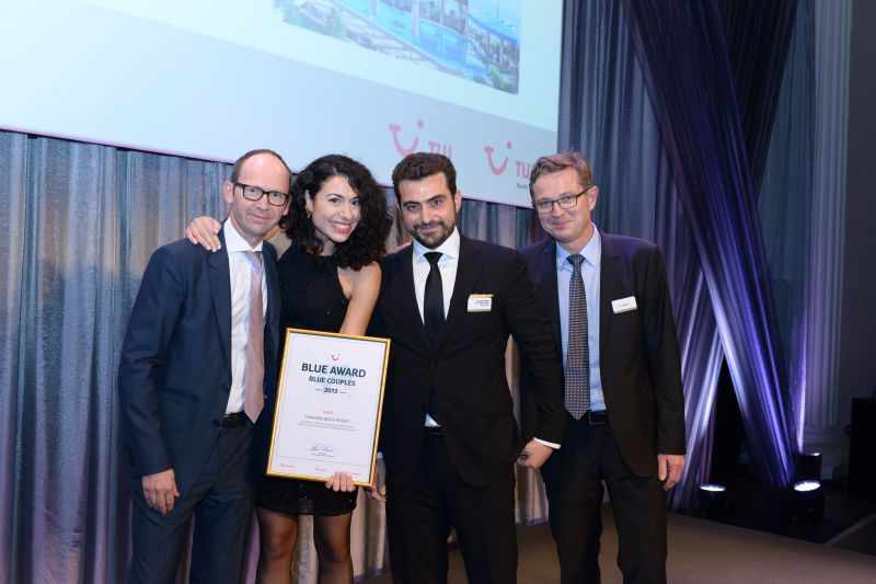 TUI Nordic CEO Henrik Norlin, Thalassa Beach Resort's Head of Public Relations Marianna Nikaki and General Director George Nikakis and TUI Nordic Production Manager Tor Claussen.