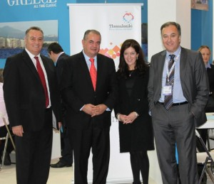 Thessaloniki Hotels Association stand at WTM 2013: Central Macedonia's vice governor of tourism development, Yiannis Giorgos; the GNTO's secretary general, Panos Livadas; Victoria Hislop; and the Thessaloniki Hotels Association's president, Aristotelis Thomopoulos.
