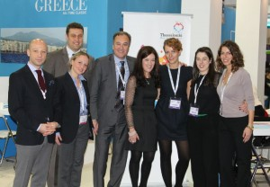The president of the Thessaloniki Hotels Association Aristotelis Thomopoulos (fourth from left) with Victoria Hislop at the association's stand. They are accompanied by the association's vice president, Konstantinos Alexopoulos; Board members, Evelyn Christopoulou and Mihalis Chryssochoidis; Dimitra Voziki and Christina Kalogera from the GNTO UK; and the association's marketing head, Evdokia Tsatsouri.