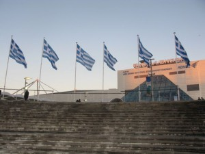 Greek flags are the first to see once approaching the ExCeL, London exhibition center to enter the World Travel Market.