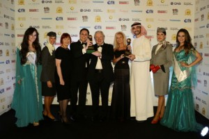 Fiona Morrisson, Vice President Guest Experience; Peter Baumgartner, Chief Commercial Officer; Aubrey Tiedt, Vice President Guest Services; and Ahmed Al Sawalhi, Graduate Manager; celebrate Etihad Airways' success at the World Travel Awards.