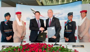 Andre Viljoen, CEO of Air Mauritius and Thierry Antinori, executive vice president and chief commercial officer of Emirates Airline.