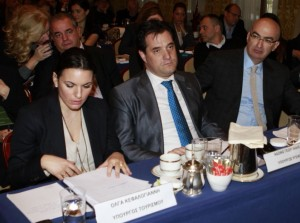 "Tourism Minister Olga Kefalogianni, Health Minister Adonis Georgiadis and Hellenic Chamber of Hotels President Yiorgos Tsakiris during the ""Medical Tourism in Practice"" event in Athens."