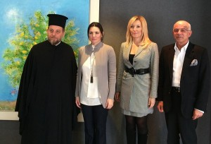 His Eminence Metropolitan Cyril of Rhodes of the Metropolises of the Dodecanese of the Ecumenical Patriarchate, Greek Tourism Minister Olga Kefalogianni, Region of South Aegean Vice Governor Eleftheria Ftaklaki and Secretary General of the Tourism Ministry Anastasios Liaskos.