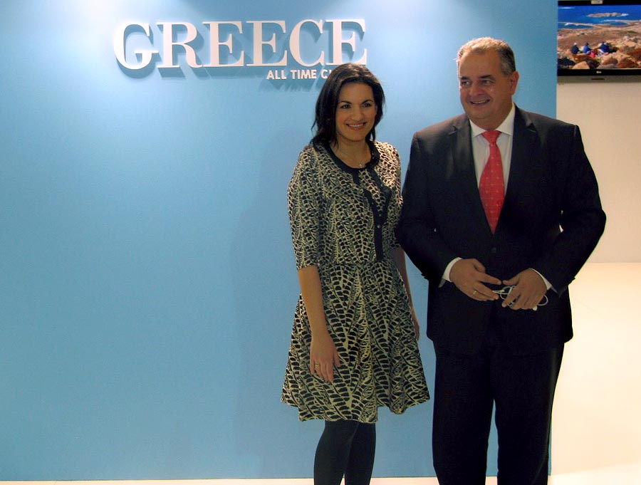 Greek Tourism Minister Olga Kefalogianni and the Greek National Tourism Organization's Secretary General Panos Livadas at the GNTO's stand.