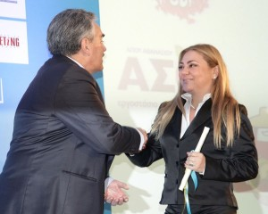 """Iliana Stengou, general director of Domaine Porto Carras, accepts the Made in Greece award for """"Rural Excellence."""""""