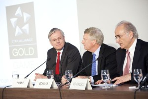 (from left) Christoph Franz, CEO of Lufthansa; Mark Schwab, CEO of Star Alliance; and Calin Rovinescu, CEO of Air Canada and chairman of Star Alliance's Chief Executive Board (CEB).