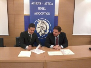 Marketing Greece General Manager Iosif Parsalis and Athens-Attica & Argosaronikos Hotel Association President Alexandros Vassilikos.