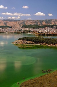 View of Lake Pamvotis with its islet, one of the most notable attractions of Ioannina, Epirus.