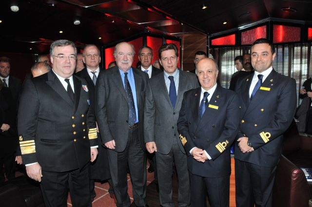 Piraeus Port Authority chairman George Anomeritis, Greek Shipping Minister Miltiades Varvitsiotis and Costa Deliziosa cruise ship Captain Giacomo Longo.