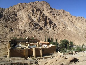 Saint Catherine's Monastery lies at the foot of Mount Sinai in Saint Katherine city in Egypt. The monastery is Greek Orthodox and is a UNESCO World Heritage Site.