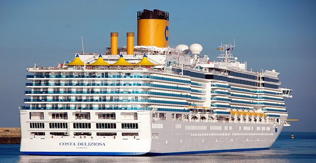 The Costa Deliziosa is the first cruise ship that sailed into Piraeus Port in 2014.