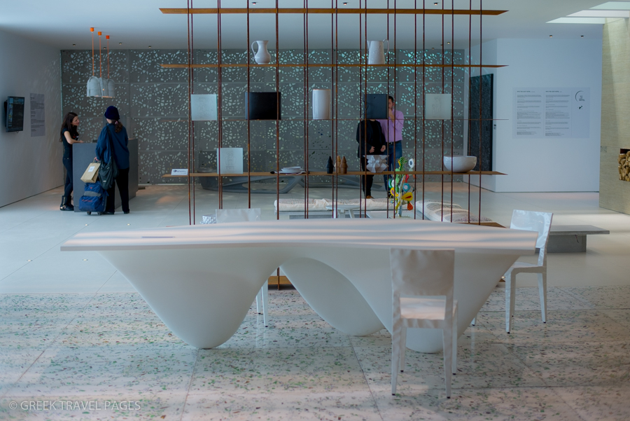 """Entrance - """"Into the Light Hotel"""" real-size hotel reception area/lobby: In the premises, visitors can admire exquisite materials and artwork (Sponsor: Zoumboulakis Galleries) - suggestions for refurbishing hotels."""