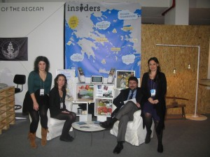 """Athens Insiders"" stand at the 100% Hotel Show - Margarita Panoriou (Paros Insider), Dapne Tragakis (Lesvos Insider), Alexandros Frydas (Athens Insider) and Anthia Vlassopoulou (Athens Insider)."