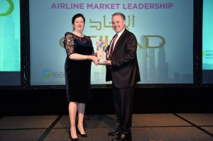 Air Transport World Editor-in-Chief Karen Walker and Etihad Airways President and Chief Executive Officer James Hogan.