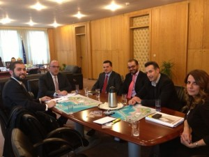 Hellenic Seaplanes President Nicholas Charalambous (left) and his team in a meeting with Greek Deputy Minister of Transport Michalis Papadopoulos (second from left).