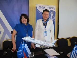 Fotoula Sapounaki from Le Grand Group of Companies with Tatiana Zotova from Labirint.