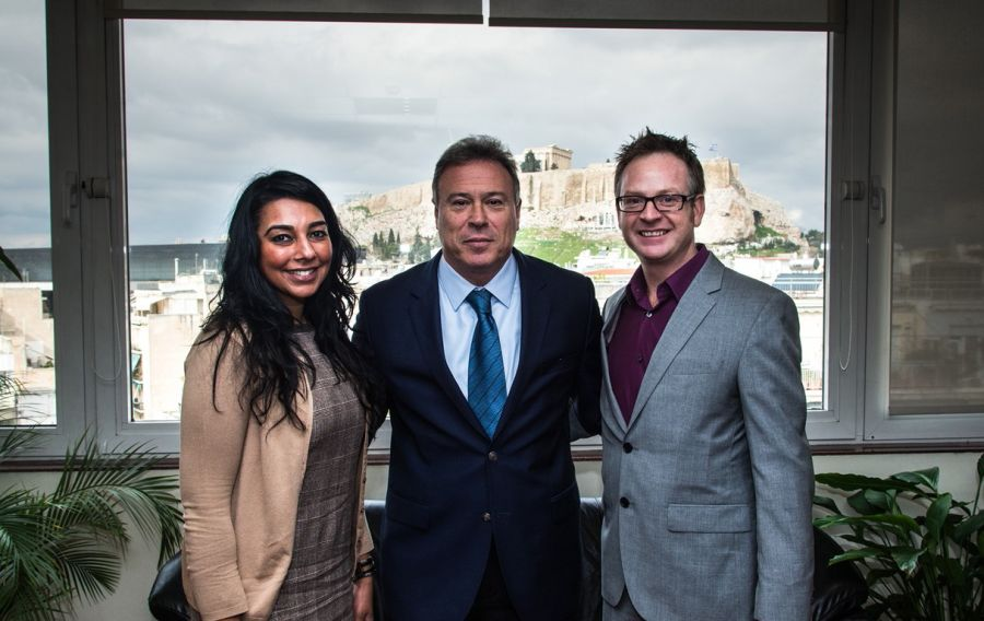 Regional Governor of Attica Yiannis Sgouros with Travel Channels' Nitu Kamboj (international senior sales executive) and Andrew Grieve (VP advertising sales UK/EMEA).