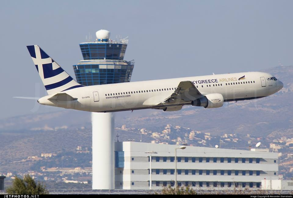 SkyGreece landing for the first time at Athens International Airport.