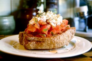"Dakos (or ""Greek bruschetta""): A traditional meze (light meal) of the island of Crete."