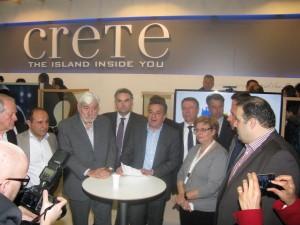ITB 2014 - Region of Crete Governor Stavros Arnaoutakis (center) presenting the island's new tourism identity.