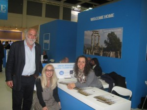 ITB 2014 - Greek Breakfast stand: Head of the Greek Breakfast program, Yiorgos Pittas with Hellenic Chamber of Hotels Director Agni Christidou and Emilia Carcabassi (translator).