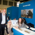 ITB 2014 – Greek Breakfast stand: Head of the Greek Breakfast program, Yiorgos Pittas with Hellenic Chamber of Hotels Director Agni Christidou and Emilia Carcabassi (translator).
