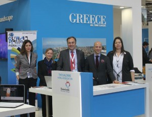 ITB 2014 - Thessaloniki Hotels Association stand: Evdokia Tsatsouri (marketing), Evelyn Christopoulou (board member), Aristotelis Thomopoulos (president) and Konstantinos Alexopoulos (vice president) with Maria Kesoglou (vice president of the Union of Tourist Guides Thessaloniki).